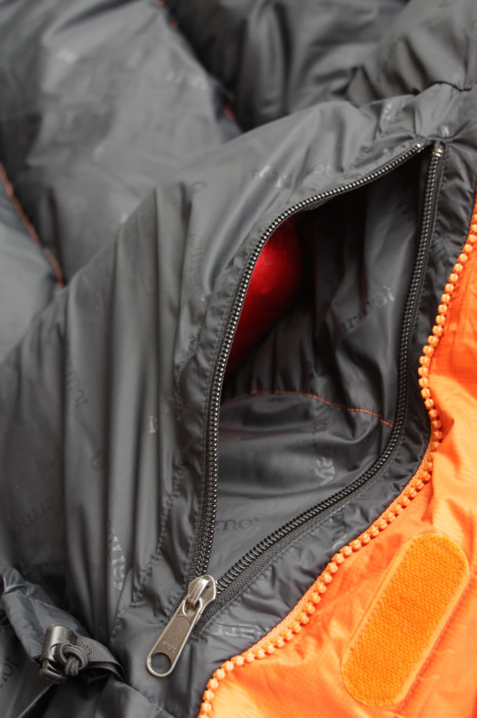 The Marmot Parka inside pocket with bottle