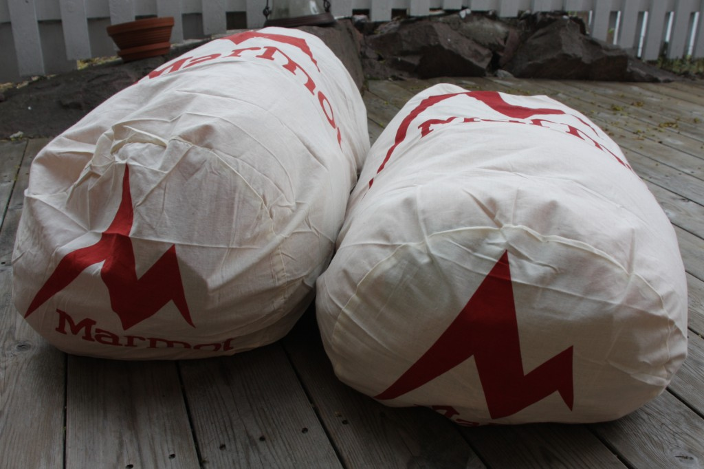Marmot storage sacks filled