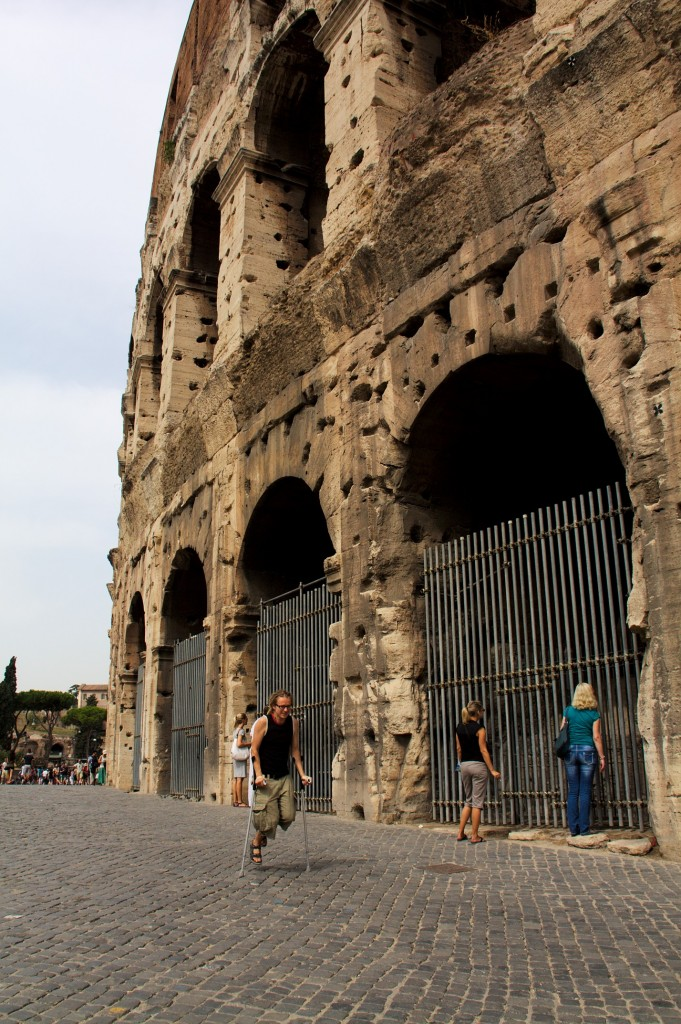 On crutches at Colosseum