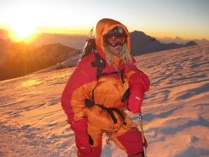 Mikko on the Mera Peak summit plateau at sunrise