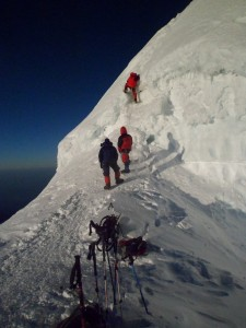 The ice wall to the Mera Peak summit