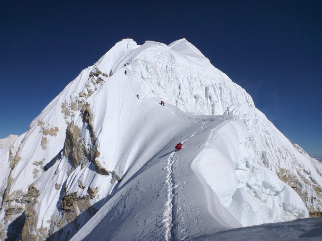 The route on the Baruntse ridge