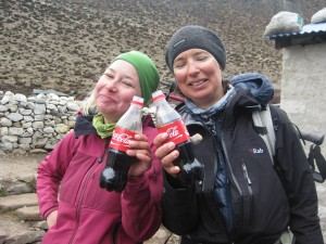 The girls enjoying the refreshing cola in Dingboche