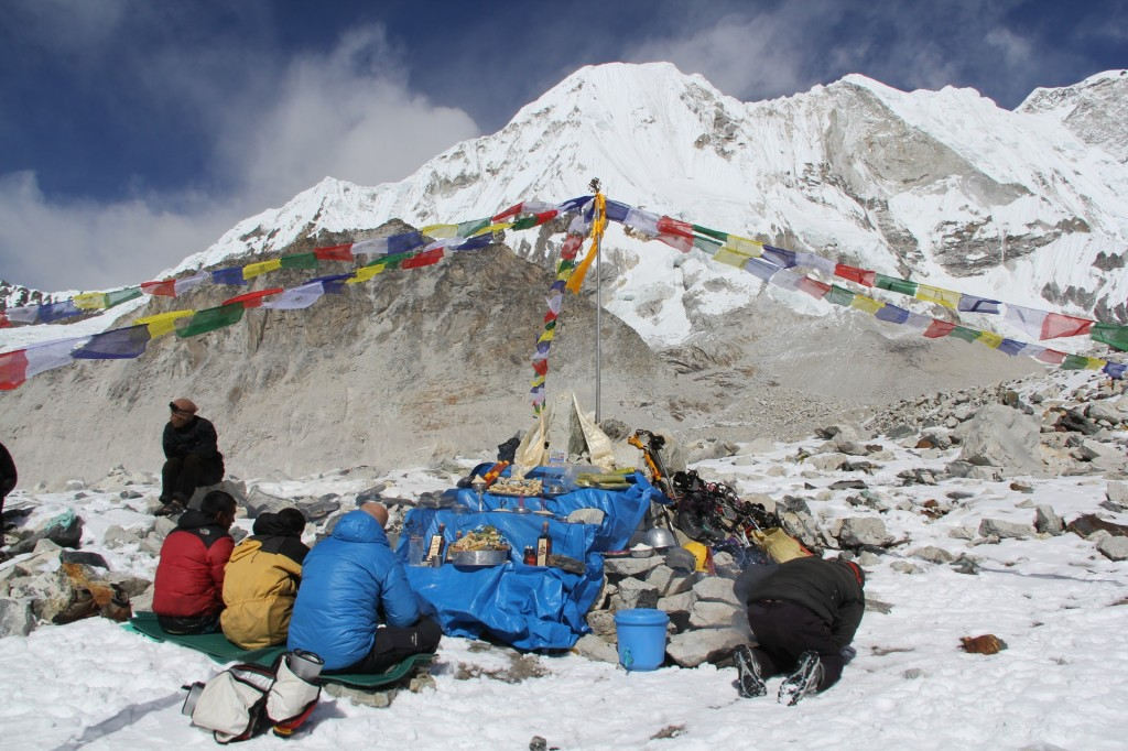 Puja at the Baruntse basecamp