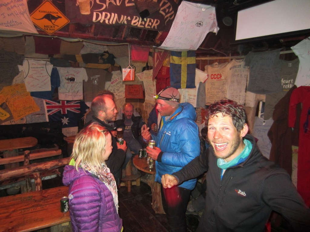 Party at a bar in Namche Bazaar
