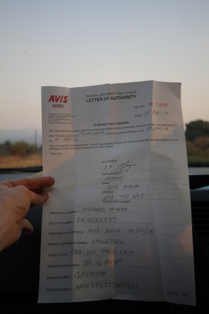 Permit to cross border with a rental car
