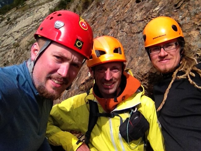 Team pose at the last belay of the Dr. Jimmy