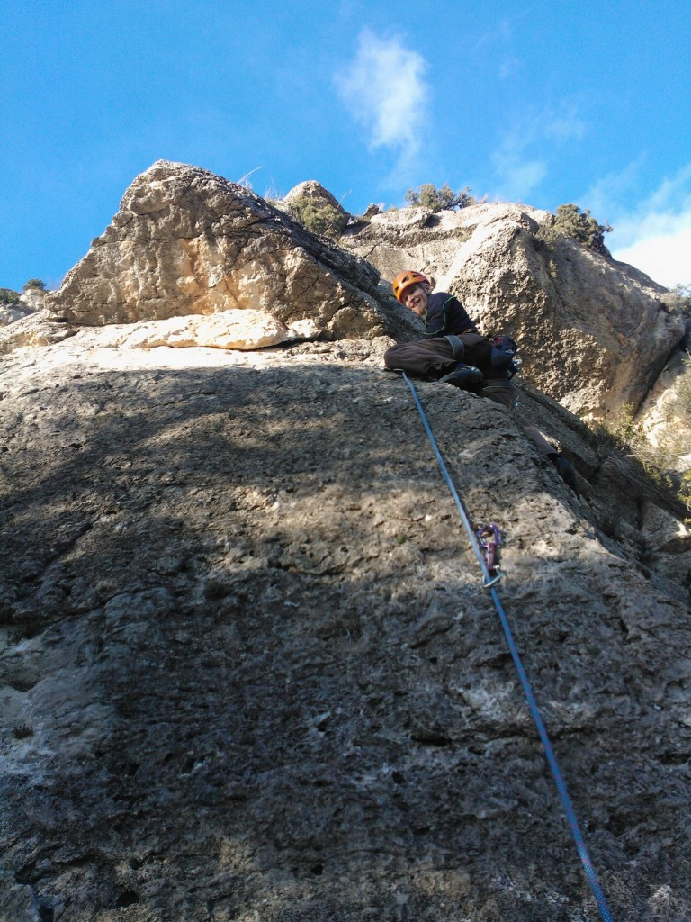 My friend climbing the Mi Primera con Muñón