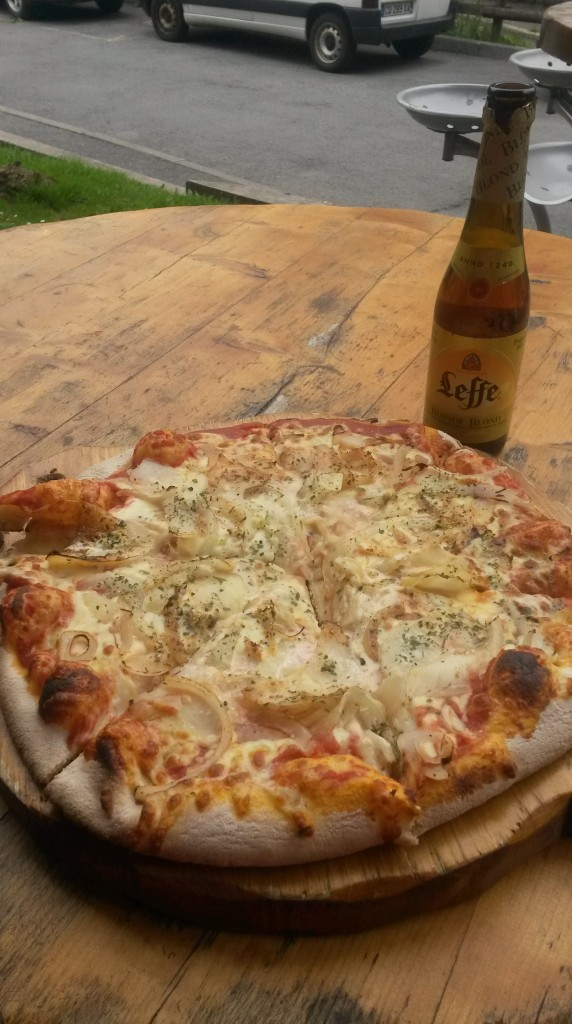 Pizza and beer for lunch. Perfect.