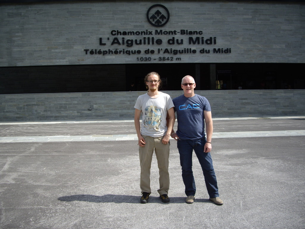 Me and John posing in front of the Aiguille de Midi base station.