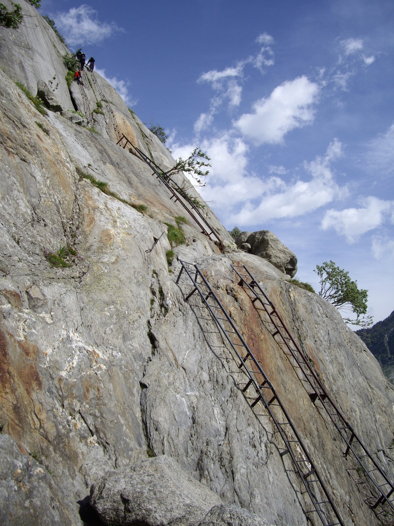 These ladders you need to descend to get to the bottom of the routes.