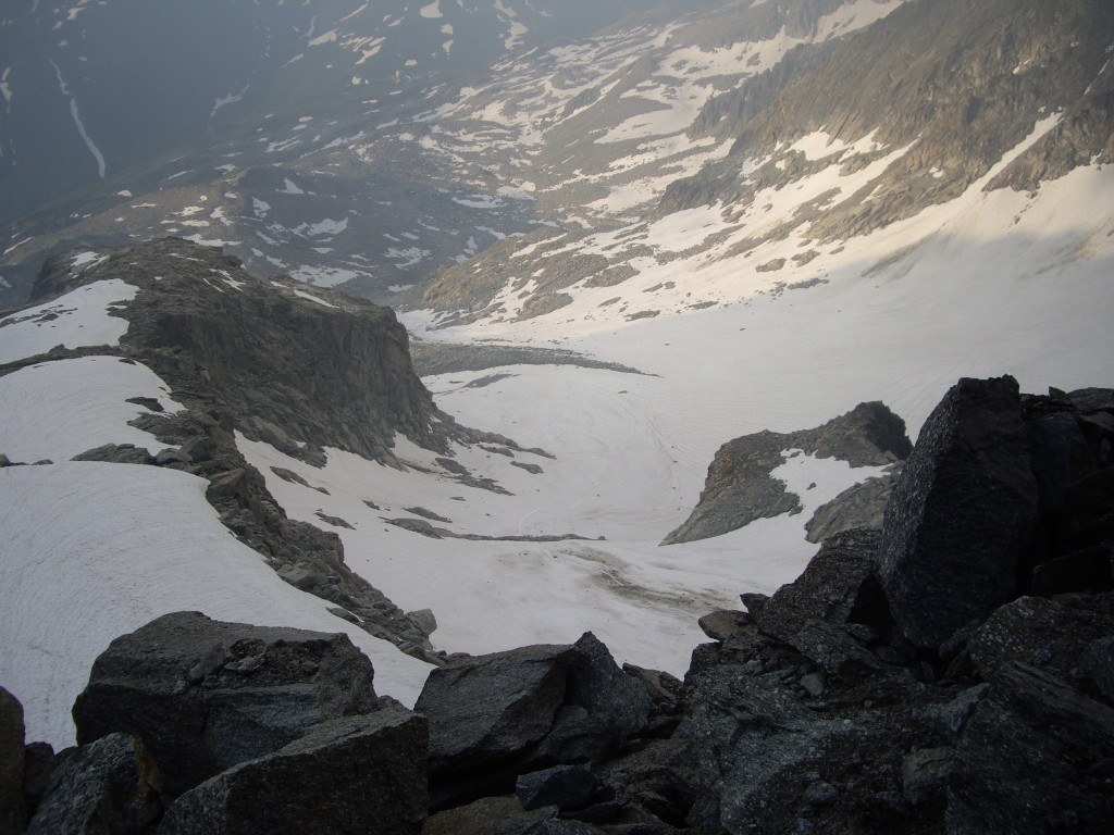 The approach from the base of the climb. The Sidelenhütte is behind the ridge on the left.
