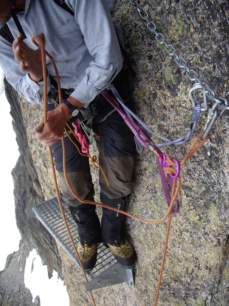 Couple of the abseil anchors had these metal plates to stand on. Convenient, but exposed at the same time.