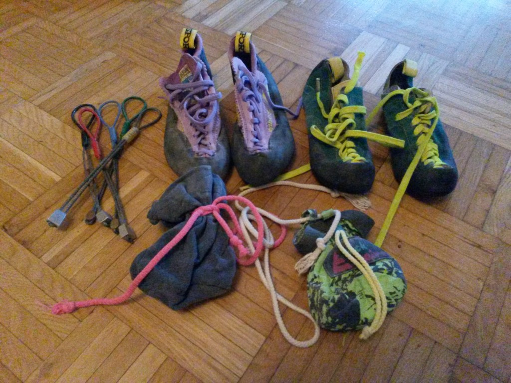 Some of my old gear from the early 90's. My regular climbing shoes pretty much failed this year and I needed to buy new ones. I opted for the similar purple La Sportiva Mythos I had 20 years ago.
